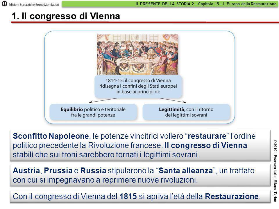 """Sconfitto Napoleone, le potenze vincitrici vollero """"restaurare"""" l'ordine politico precedente la Rivoluzione francese. Il congresso di Vienna stabilì c"""