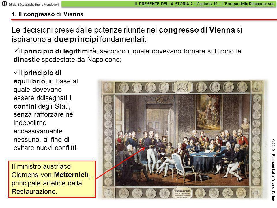 Le decisioni prese dalle potenze riunite nel congresso di Vienna si ispirarono a due principi fondamentali: il principio di legittimità, secondo il qu