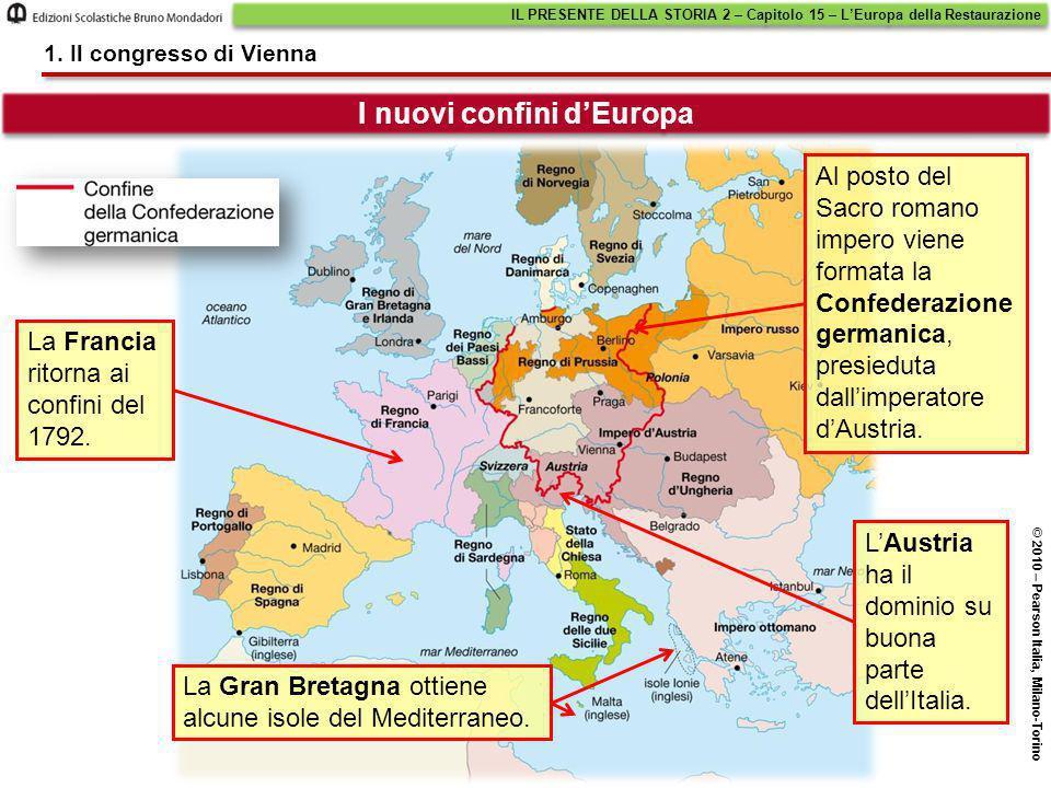La Francia ritorna ai confini del 1792. Al posto del Sacro romano impero viene formata la Confederazione germanica, presieduta dall'imperatore d'Austr