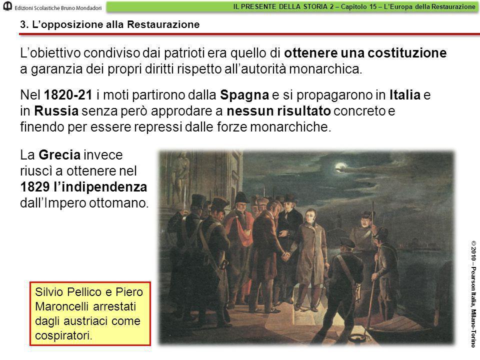 L'obiettivo condiviso dai patrioti era quello di ottenere una costituzione a garanzia dei propri diritti rispetto all'autorità monarchica. Nel 1820-21