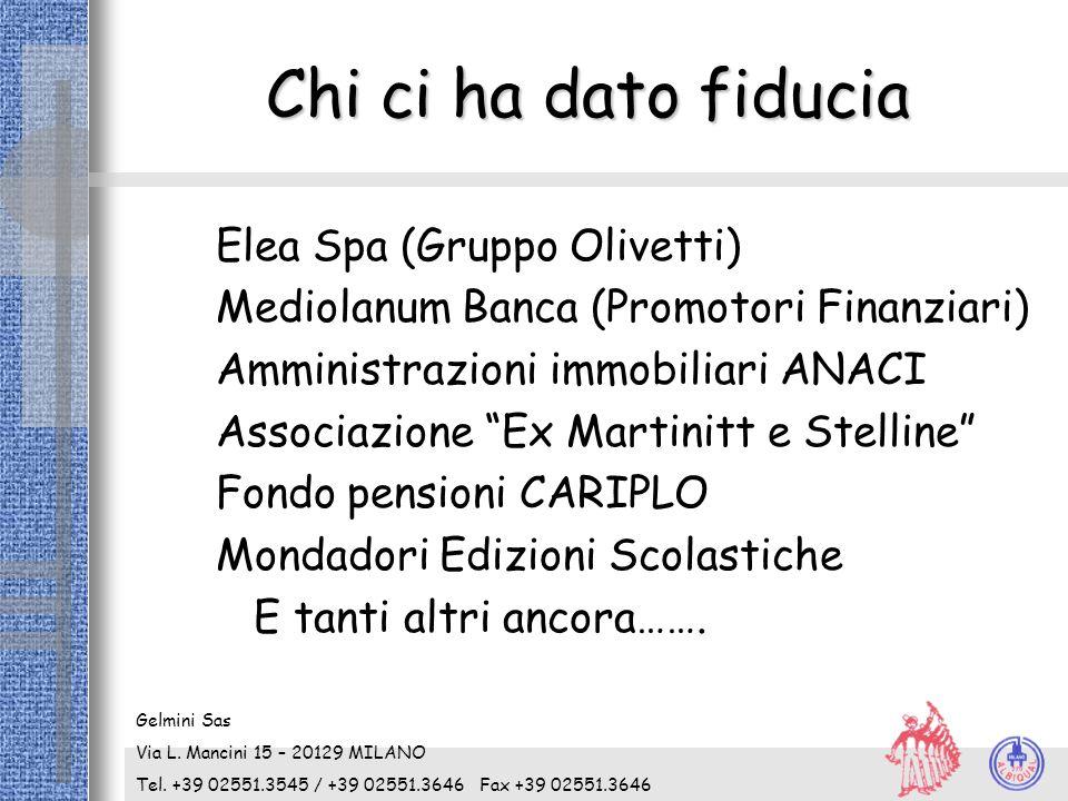 """Chi ci ha dato fiducia Elea Spa (Gruppo Olivetti) Mediolanum Banca (Promotori Finanziari) Amministrazioni immobiliari ANACI Associazione """"Ex Martinitt"""