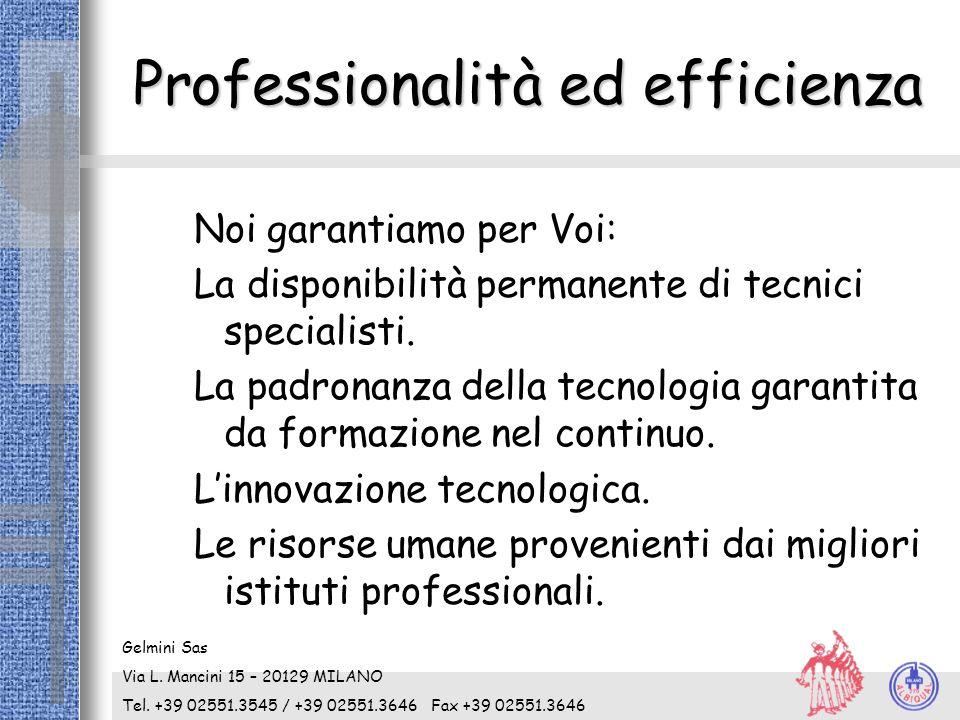 Professionalità ed efficienza Noi garantiamo per Voi: La disponibilità permanente di tecnici specialisti. La padronanza della tecnologia garantita da
