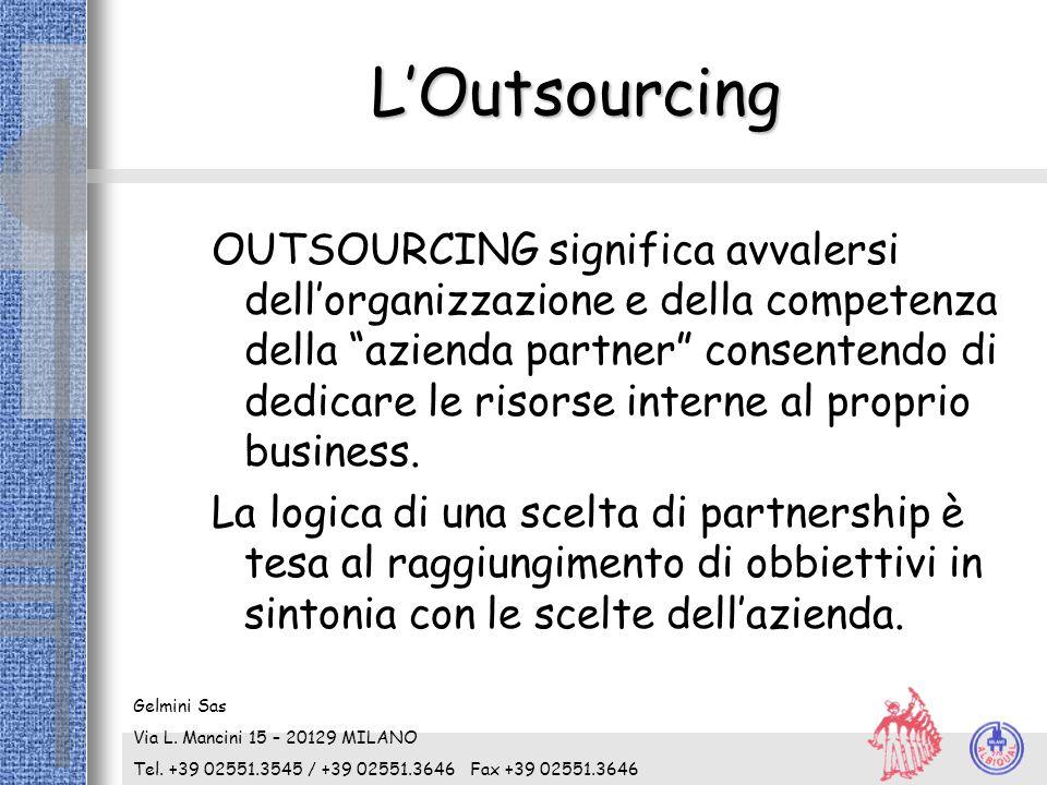 """L'Outsourcing OUTSOURCING significa avvalersi dell'organizzazione e della competenza della """"azienda partner"""" consentendo di dedicare le risorse intern"""