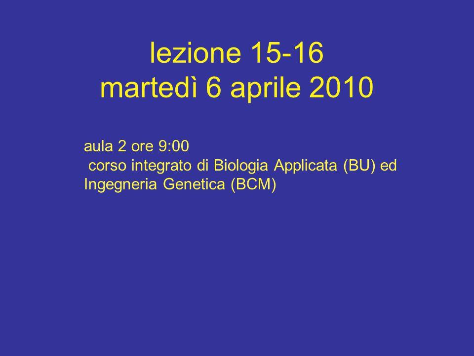 lezione 15-16 martedì 6 aprile 2010 aula 2 ore 9:00 corso integrato di Biologia Applicata (BU) ed Ingegneria Genetica (BCM)