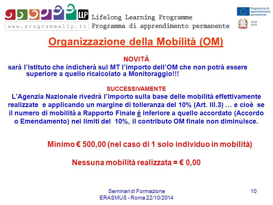 Seminari di Formazione ERASMUS - Roma 22/10/2014 10 Organizzazione della Mobilità (OM) NOVITÀ sarà l'Istituto che indicherà sul MT l'importo dell'OM c
