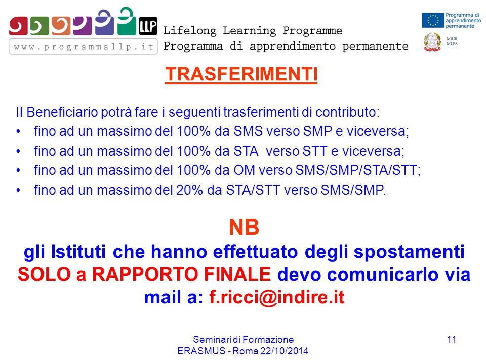 Seminari di Formazione ERASMUS - Roma 22/10/2014 11 TRASFERIMENTI Il Beneficiario potrà fare i seguenti trasferimenti di contributo: fino ad un massim