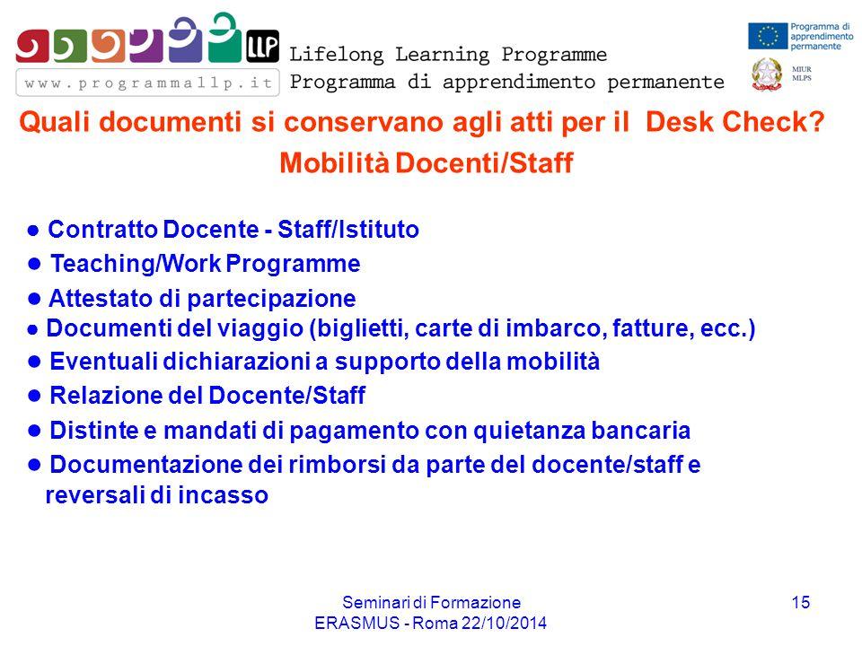 Seminari di Formazione ERASMUS - Roma 22/10/2014 15 ● Contratto Docente - Staff/Istituto ● Teaching/Work Programme ● Attestato di partecipazione ● Doc