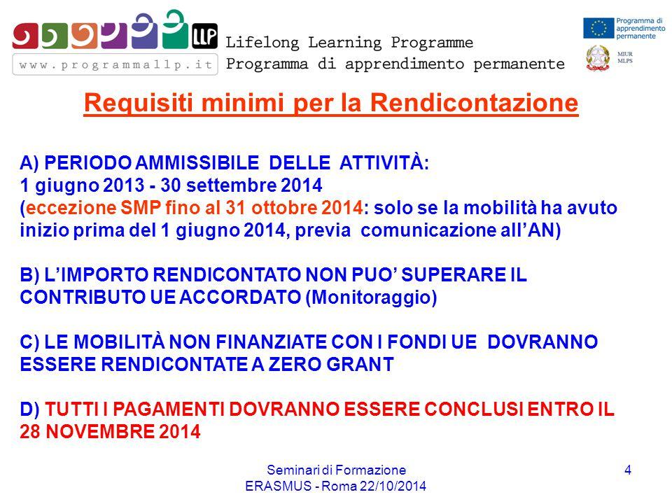 Seminari di Formazione ERASMUS - Roma 22/10/2014 4 A) PERIODO AMMISSIBILE DELLE ATTIVITÀ: 1 giugno 2013 - 30 settembre 2014 (eccezione SMP fino al 31