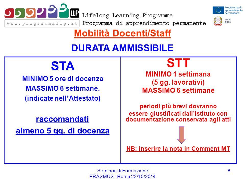 Seminari di Formazione ERASMUS - Roma 22/10/2014 8 Mobilità Docenti/Staff STA MINIMO 5 ore di docenza MASSIMO 6 settimane. (indicate nell'Attestato) r