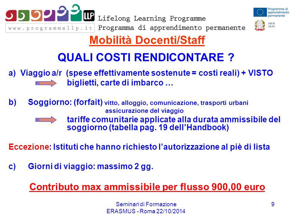 Seminari di Formazione ERASMUS - Roma 22/10/2014 9 Mobilità Docenti/Staff a) Viaggio a/r (spese effettivamente sostenute = costi reali) + VISTO biglie