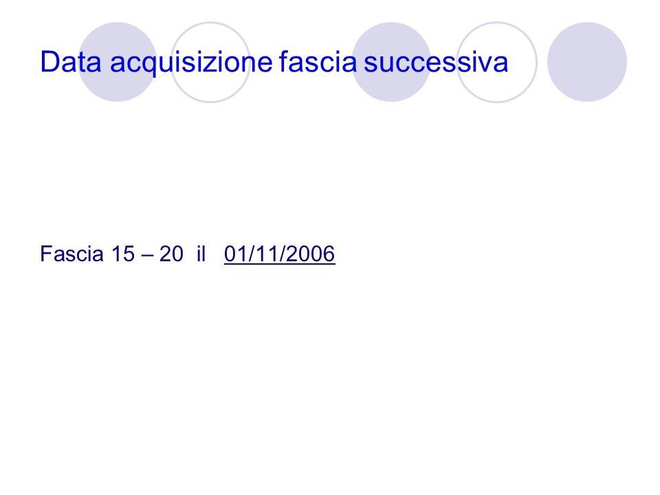 Data acquisizione fascia successiva Fascia 15 – 20 il 01/11/2006