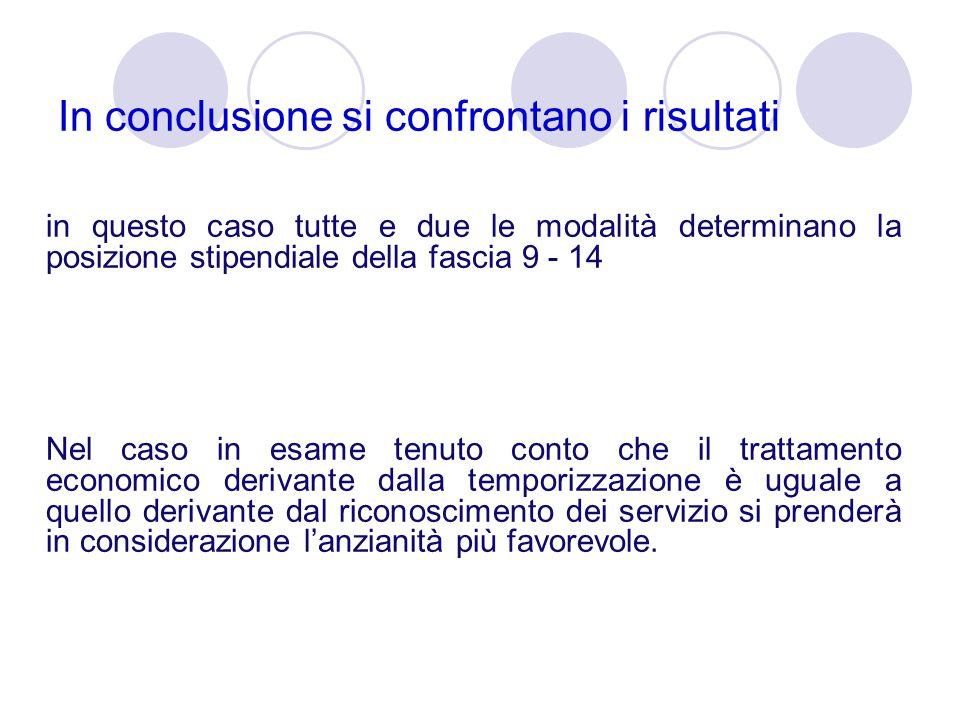 In conclusione si confrontano i risultati in questo caso tutte e due le modalità determinano la posizione stipendiale della fascia 9 - 14 Nel caso in