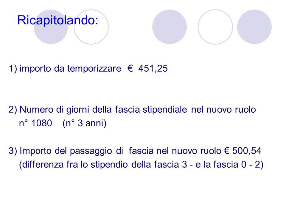 Ricapitolando: 1) importo da temporizzare € 451,25 2) Numero di giorni della fascia stipendiale nel nuovo ruolo n° 1080 (n° 3 anni) 3) Importo del pas