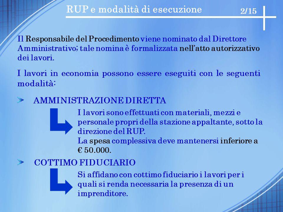 RUP e modalità di esecuzione I lavori in economia possono essere eseguiti con le seguenti modalità: AMMINISTRAZIONE DIRETTA COTTIMO FIDUCIARIO 2/15 I