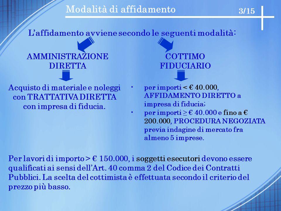 Modalità di affidamento 3/15 L'affidamento avviene secondo le seguenti modalità: AMMINISTRAZIONE DIRETTA COTTIMO FIDUCIARIO Per lavori di importo > €