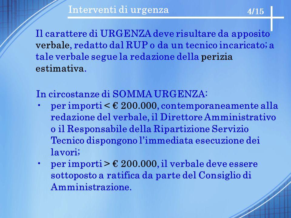 Interventi di urgenza 4/15 Il carattere di URGENZA deve risultare da apposito verbale, redatto dal RUP o da un tecnico incaricato; a tale verbale segu