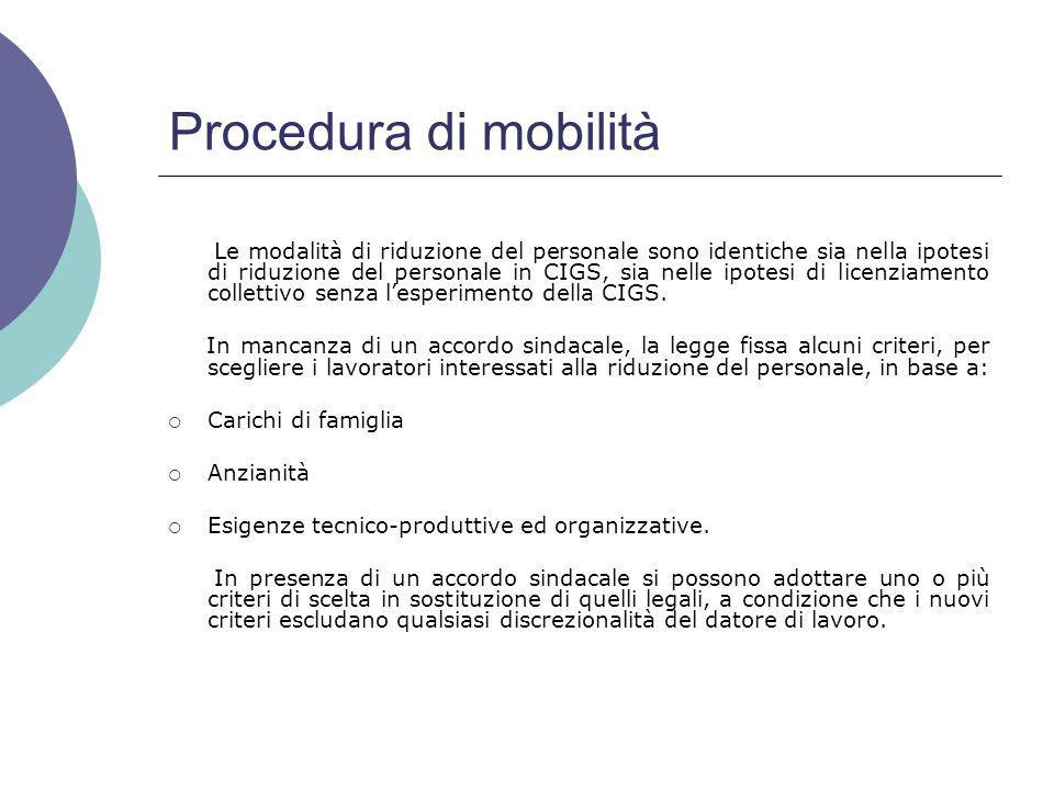 Procedura di mobilità Le modalità di riduzione del personale sono identiche sia nella ipotesi di riduzione del personale in CIGS, sia nelle ipotesi di licenziamento collettivo senza l'esperimento della CIGS.