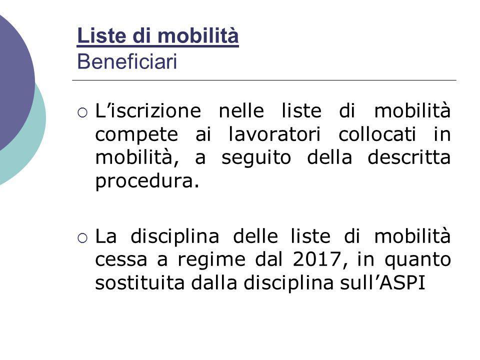 Liste di mobilità Beneficiari  L'iscrizione nelle liste di mobilità compete ai lavoratori collocati in mobilità, a seguito della descritta procedura.