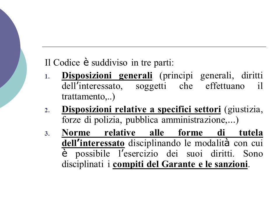 Il Codice è suddiviso in tre parti: 1.