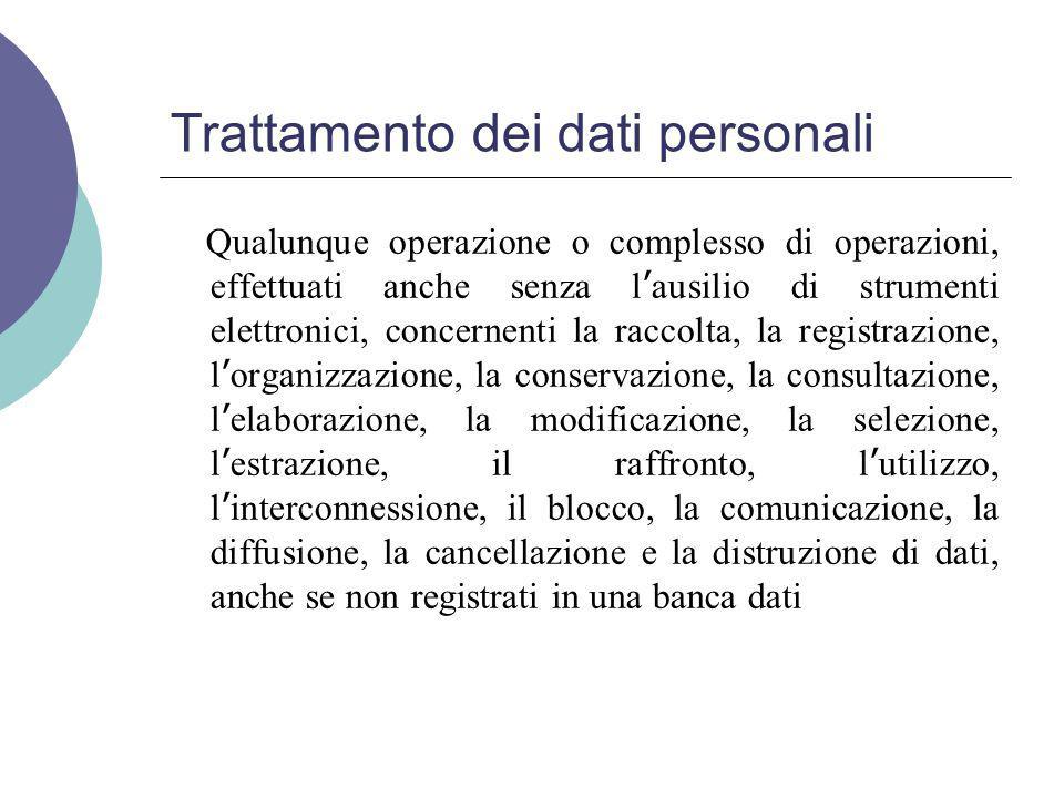 Trattamento dei dati personali Qualunque operazione o complesso di operazioni, effettuati anche senza l ' ausilio di strumenti elettronici, concernenti la raccolta, la registrazione, l ' organizzazione, la conservazione, la consultazione, l ' elaborazione, la modificazione, la selezione, l ' estrazione, il raffronto, l ' utilizzo, l ' interconnessione, il blocco, la comunicazione, la diffusione, la cancellazione e la distruzione di dati, anche se non registrati in una banca dati