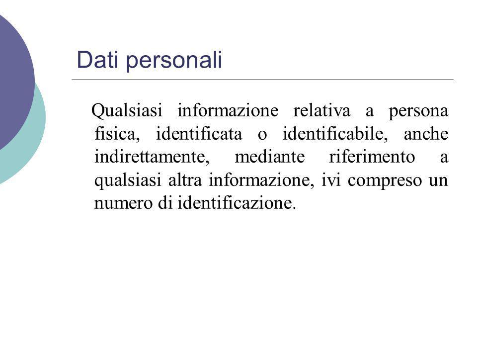 Dati personali Qualsiasi informazione relativa a persona fisica, identificata o identificabile, anche indirettamente, mediante riferimento a qualsiasi altra informazione, ivi compreso un numero di identificazione.