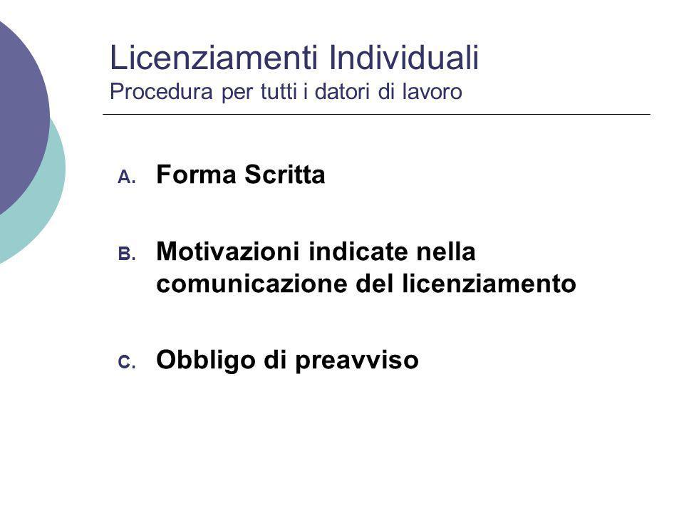 Licenziamenti Individuali Procedura per imprese con piu' di 15 dipendenti Procedura preventiva di conciliazione obbligatoria presso la D.T.L.