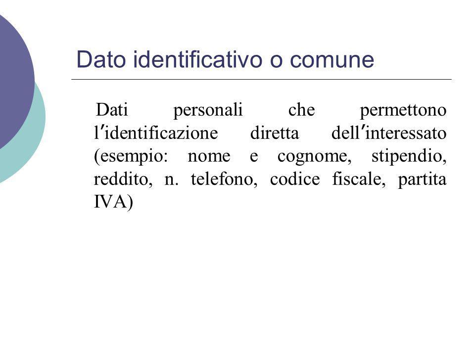 Dato identificativo o comune Dati personali che permettono l ' identificazione diretta dell ' interessato (esempio: nome e cognome, stipendio, reddito, n.