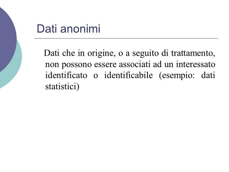Dati anonimi Dati che in origine, o a seguito di trattamento, non possono essere associati ad un interessato identificato o identificabile (esempio: dati statistici)