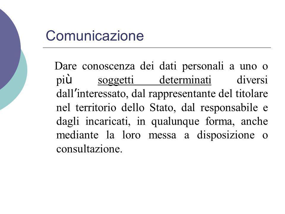 Diffusione Il dare conoscenza dei dati personali a soggetti indeterminati, in qualunque forma, anche mediante la loro messa a disposizione o consultazione