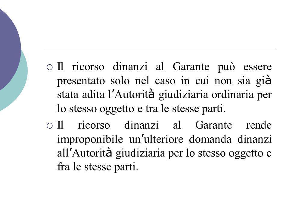  Il ricorso dinanzi al Garante può essere presentato solo nel caso in cui non sia gi à stata adita l ' Autorit à giudiziaria ordinaria per lo stesso oggetto e tra le stesse parti.