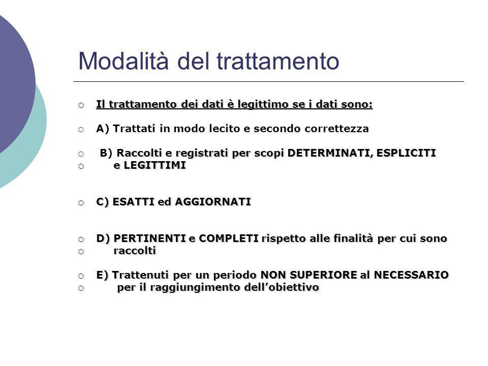 Modalità del trattamento  Il trattamento dei dati è legittimo se i dati sono:  A) Trattati in modo lecito e secondo correttezza accolti e registrati per scopi DETERMINATI, ESPLICITI  B) Raccolti e registrati per scopi DETERMINATI, ESPLICITI  e LEGITTIMI  C) ESATTI ed AGGIORNATI  D) PERTINENTI e COMPLETI rispetto alle finalità per cui sono  raccolti  E) Trattenuti per un periodo NON SUPERIORE al NECESSARIO  per il raggiungimento dell'obiettivo
