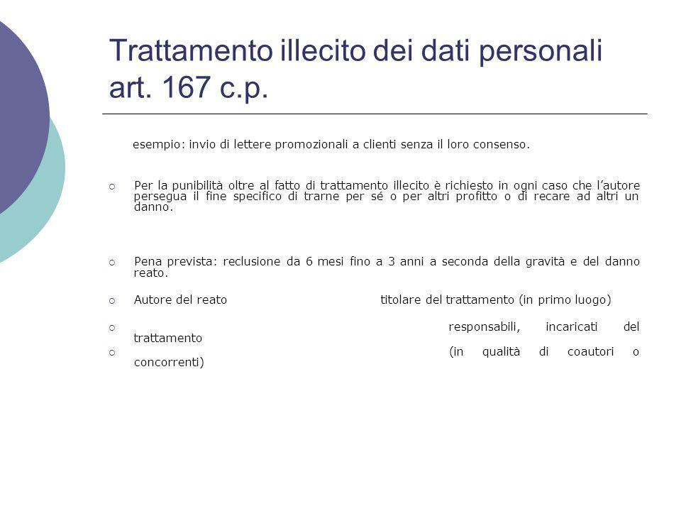 Trattamento illecito dei dati personali art.167 c.p.