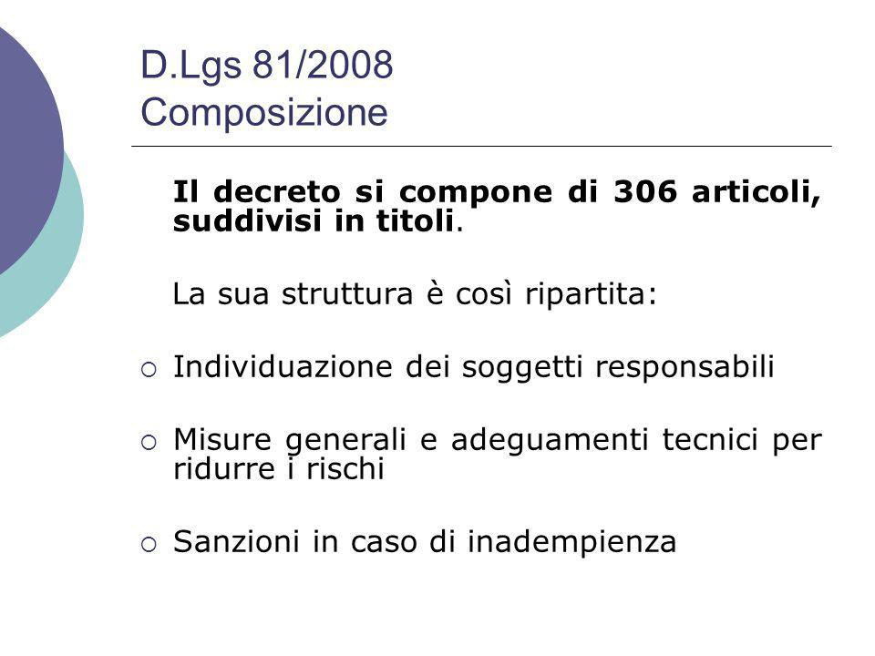 D.Lgs 81/2008 Composizione Il decreto si compone di 306 articoli, suddivisi in titoli.