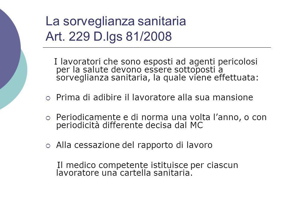 La sorveglianza sanitaria Art.