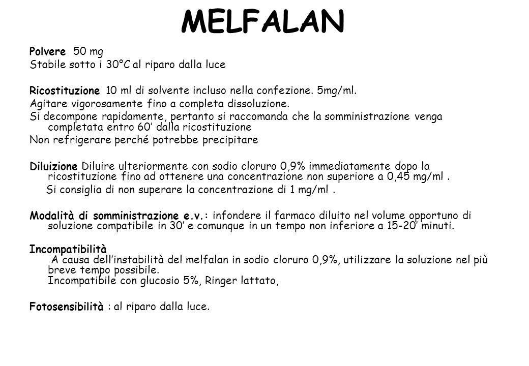 MELFALAN Polvere 50 mg Stabile sotto i 30°C al riparo dalla luce Ricostituzione 10 ml di solvente incluso nella confezione.