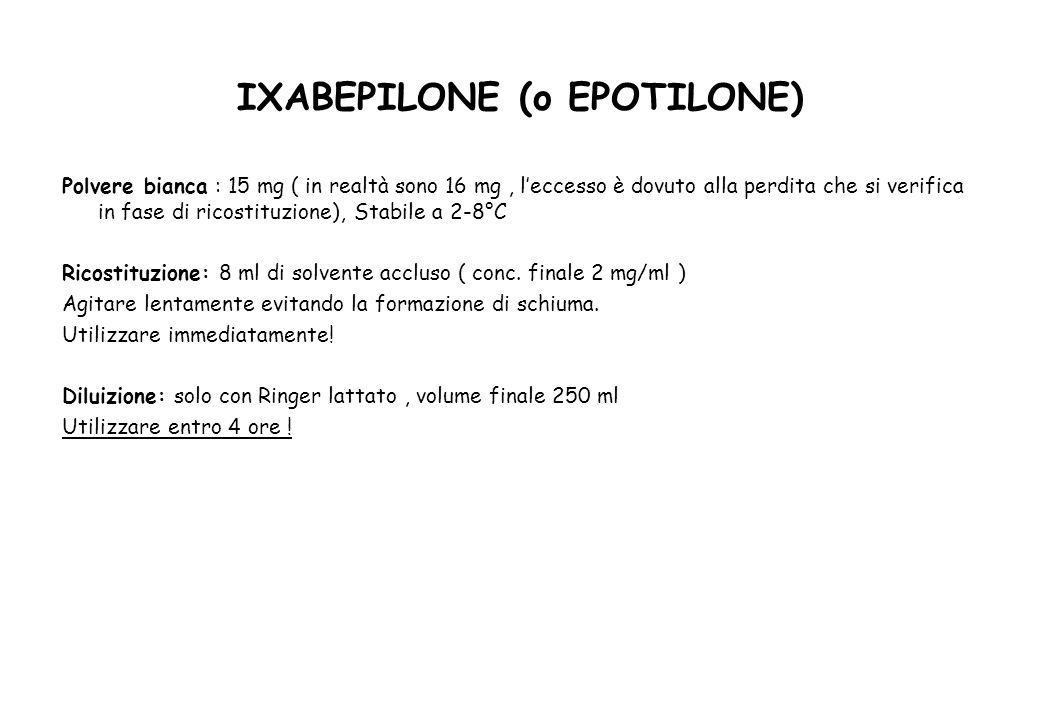 IXABEPILONE (o EPOTILONE) Polvere bianca : 15 mg ( in realtà sono 16 mg, l'eccesso è dovuto alla perdita che si verifica in fase di ricostituzione), Stabile a 2-8°C Ricostituzione: 8 ml di solvente accluso ( conc.