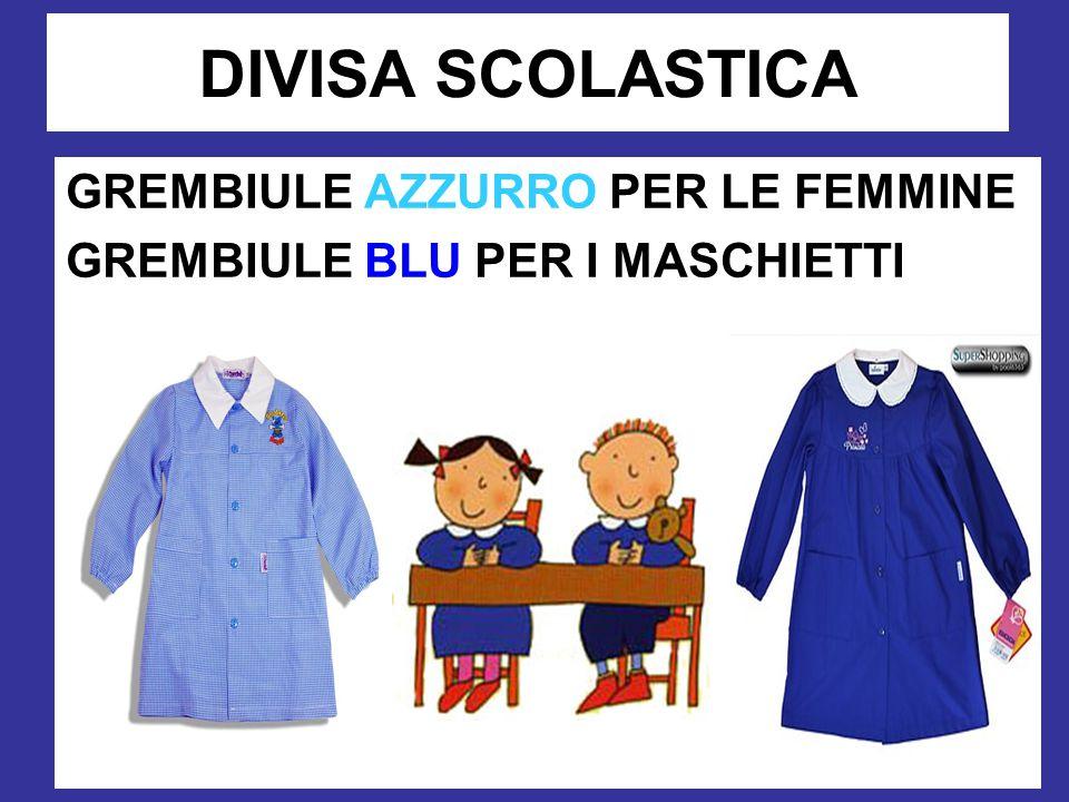 DIVISA SCOLASTICA GREMBIULE AZZURRO PER LE FEMMINE GREMBIULE BLU PER I MASCHIETTI