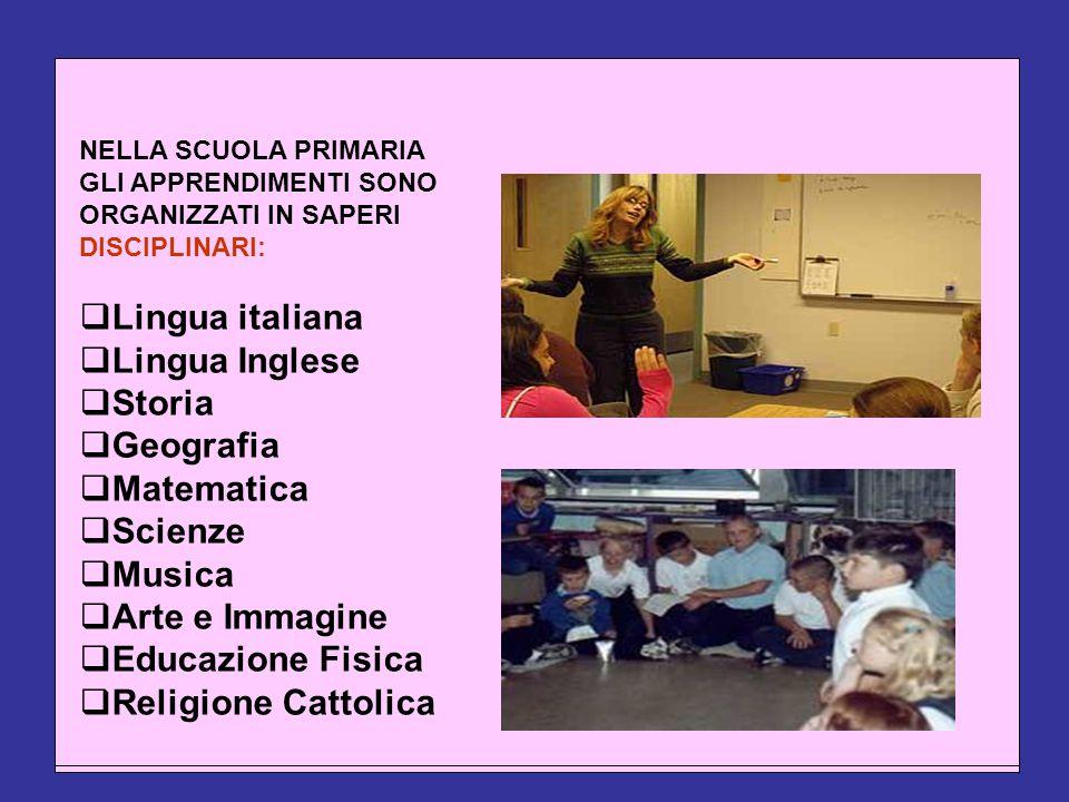 NELLA SCUOLA PRIMARIA GLI APPRENDIMENTI SONO ORGANIZZATI IN SAPERI DISCIPLINARI:  Lingua italiana  Lingua Inglese  Storia  Geografia  Matematica