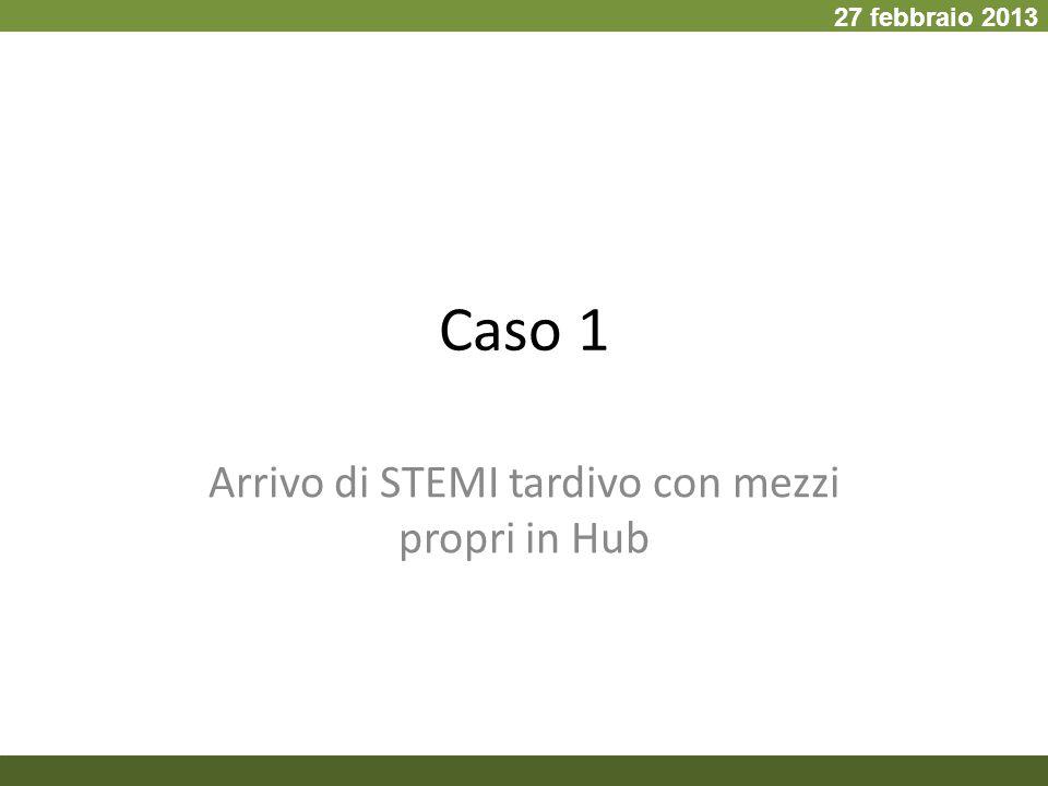 Caso 1 Arrivo di STEMI tardivo con mezzi propri in Hub 27 febbraio 2013