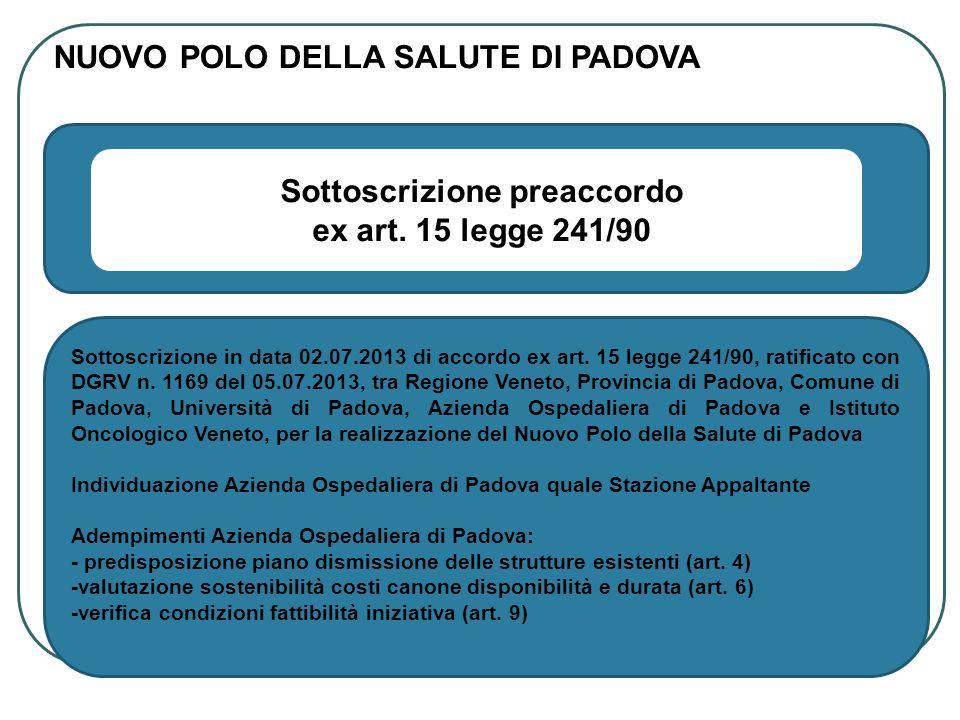 Trasmissione in data 07.08.2013, da parte della Regione Veneto all Azienda Ospedaliera di Padova, della proposta di Finanza e Progetti S.p.a.
