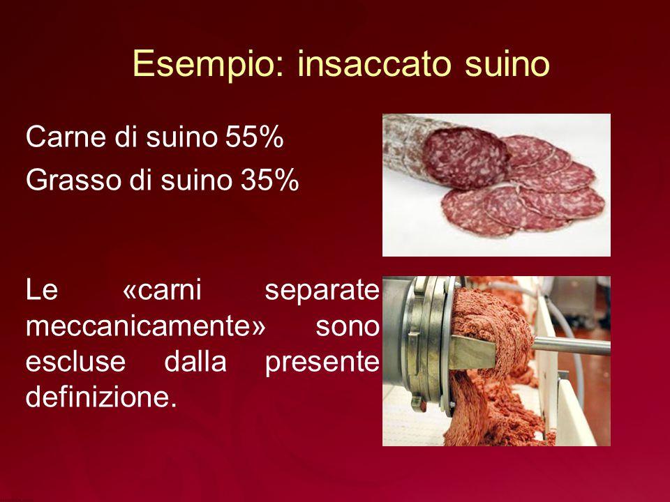 Esempio: insaccato suino Carne di suino 55% Grasso di suino 35% Le «carni separate meccanicamente» sono escluse dalla presente definizione.