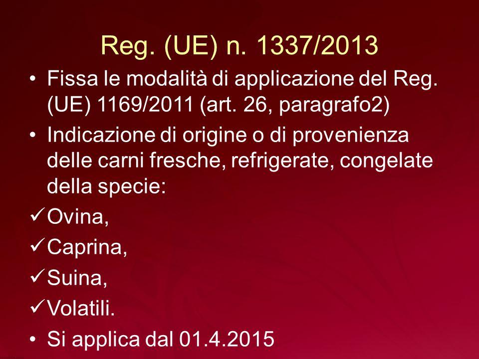 Reg.(UE) n. 1337/2013 Fissa le modalità di applicazione del Reg.