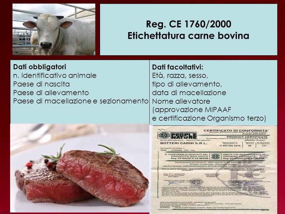 Reg.CE 1760/2000 Etichettatura carne bovina Dati obbligatori n.