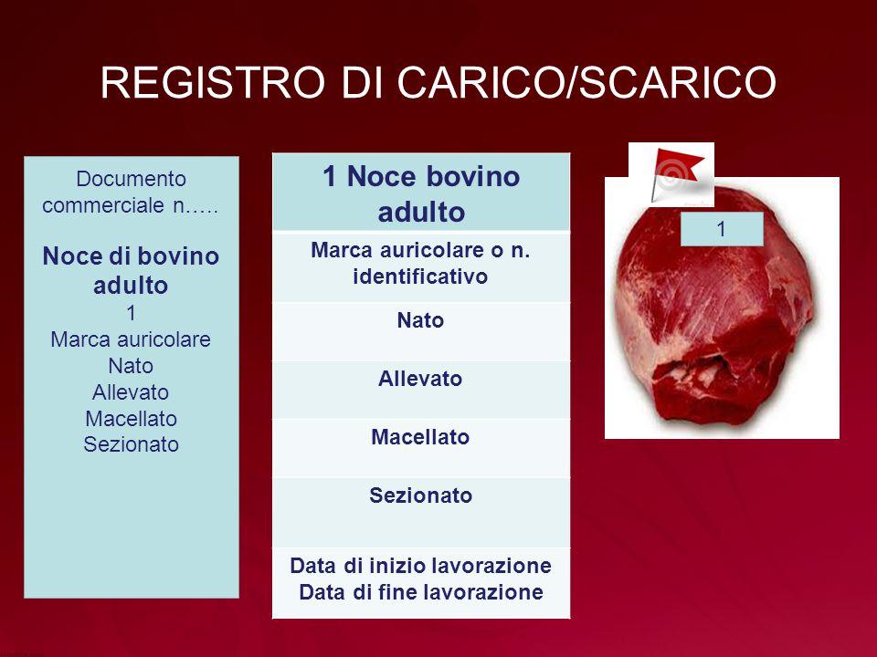 REGISTRO DI CARICO/SCARICO 1 Noce bovino adulto Marca auricolare o n.