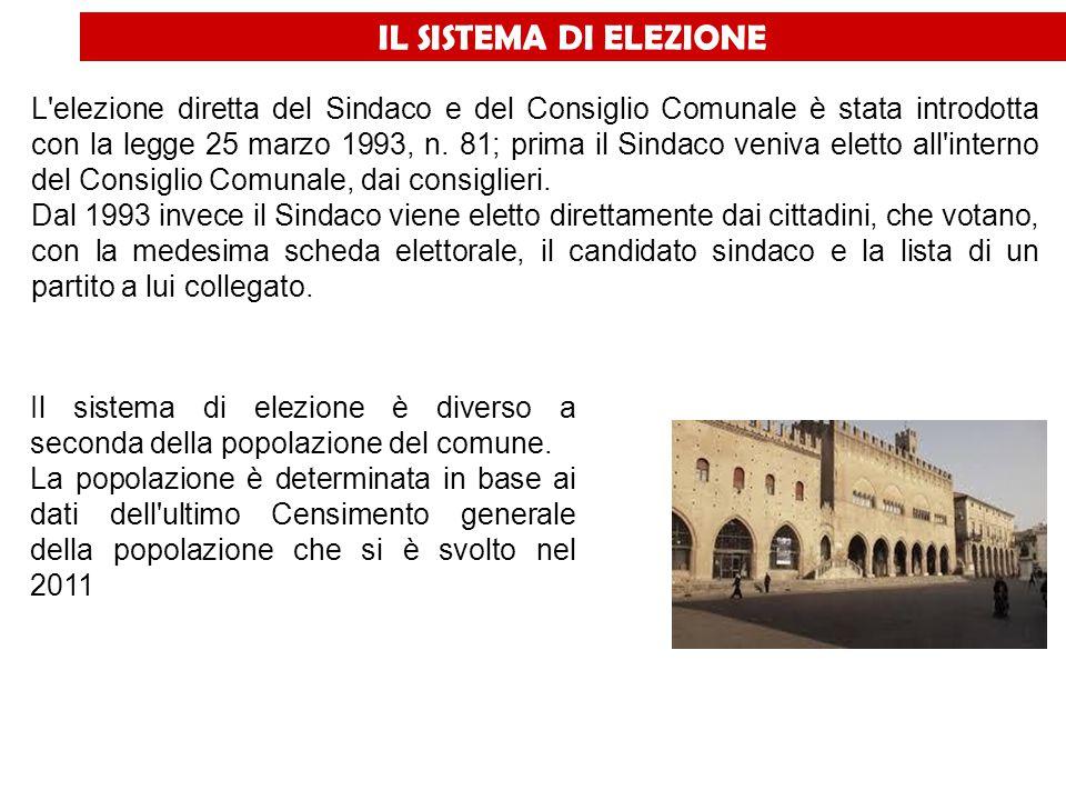 IL SISTEMA DI ELEZIONE L'elezione diretta del Sindaco e del Consiglio Comunale è stata introdotta con la legge 25 marzo 1993, n. 81; prima il Sindaco