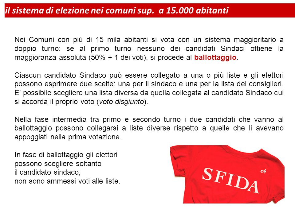 Nei Comuni con più di 15 mila abitanti si vota con un sistema maggioritario a doppio turno: se al primo turno nessuno dei candidati Sindaci ottiene la