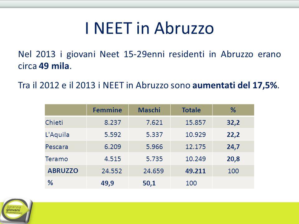 I NEET in Abruzzo Nel 2013 i giovani Neet 15-29enni residenti in Abruzzo erano circa 49 mila. Tra il 2012 e il 2013 i NEET in Abruzzo sono aumentati d