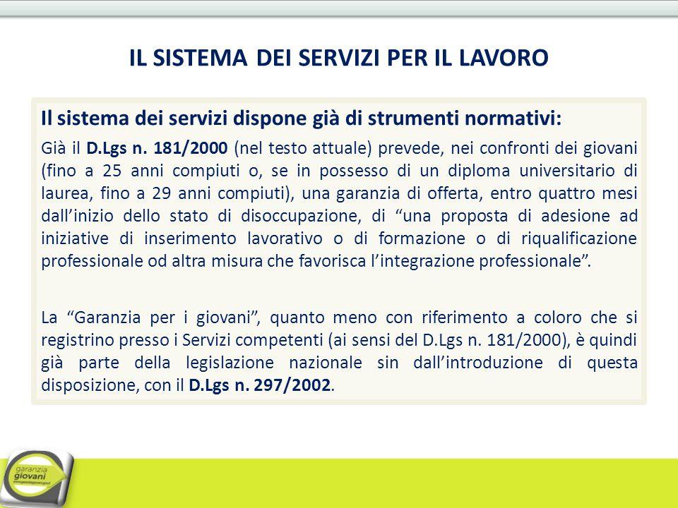 IL SISTEMA DEI SERVIZI PER IL LAVORO Il sistema dei servizi dispone già di strumenti normativi: Già il D.Lgs n. 181/2000 (nel testo attuale) prevede,