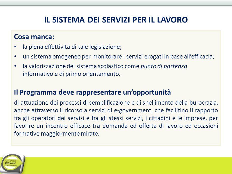 Cosa manca: la piena effettività di tale legislazione; un sistema omogeneo per monitorare i servizi erogati in base all'efficacia; la valorizzazione d