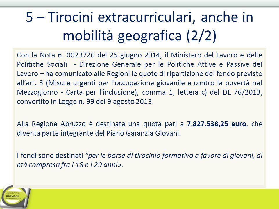 5 – Tirocini extracurriculari, anche in mobilità geografica (2/2) Con la Nota n. 0023726 del 25 giugno 2014, il Ministero del Lavoro e delle Politiche